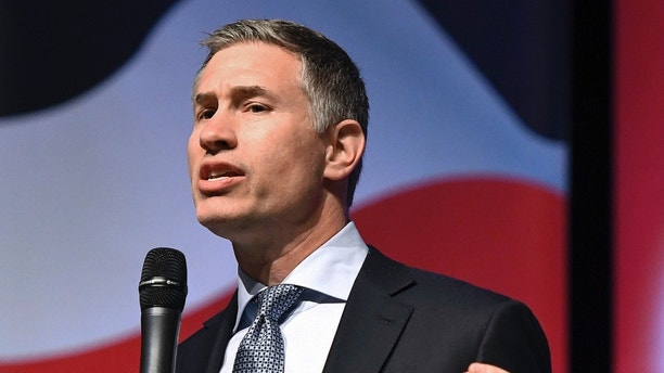 FILE - In this April 4, 2018 file photo, David Stemerman, of Greenwich, Conn., speaks during a debate of Republican gubernatorial hopefuls in New Britain, Conn. Stemerman is one of five Republicans seeking his party's nomination in the Aug. 14 primary. (John Woike/Hartford Courant via AP, File)