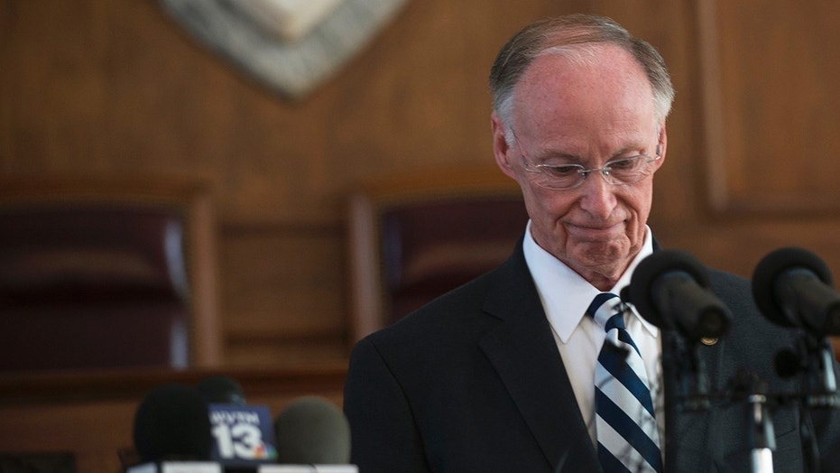 In this April 10, 2017, file photo, former Alabama Governor Robert Bentley speaks after officially resigning, in Montgomery, Ala.
