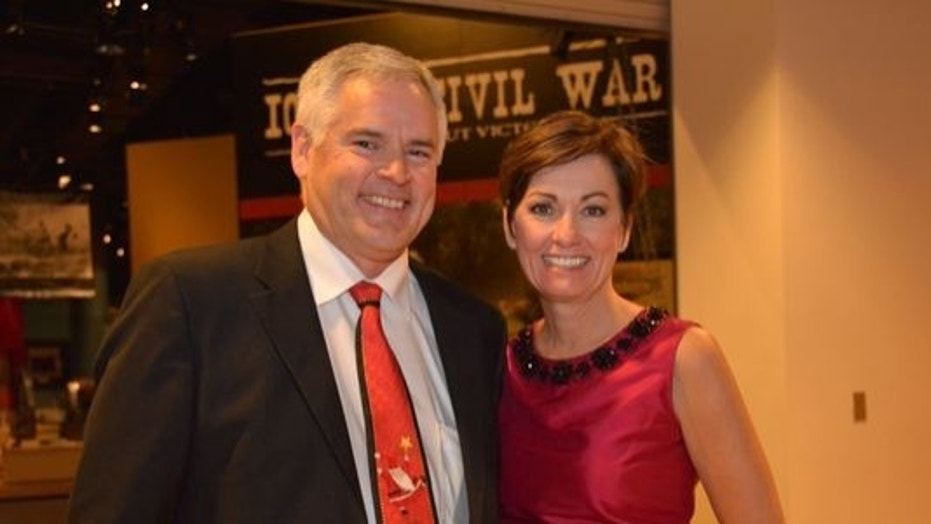 Kevin Reynolds and Gov. Kim Reynolds are seen in an undated photo, taken while Kim Reynolds was Iowa's lieutenant governor.
