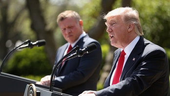President Donald Trump and Jordan's King Abdullah II hold a news conference in the Rose Garden at the White House in Washington, Wednesday, April 5, 2017. (AP Photo/Andrew Harnik)