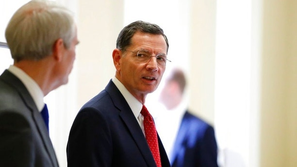 FILE - In this March 20, 2018, file photo, Sen. John Barrasso, R-Wyo. , right speaks with Sen. Rob Portman, R-Ohio, after a Republican policy luncheon on Capitol Hill in Washington.