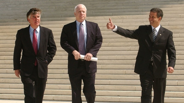 (L-R) Rep. Marty Meehan (D-MA), Sen. John McCain (R-AZ), and Sen. Russ