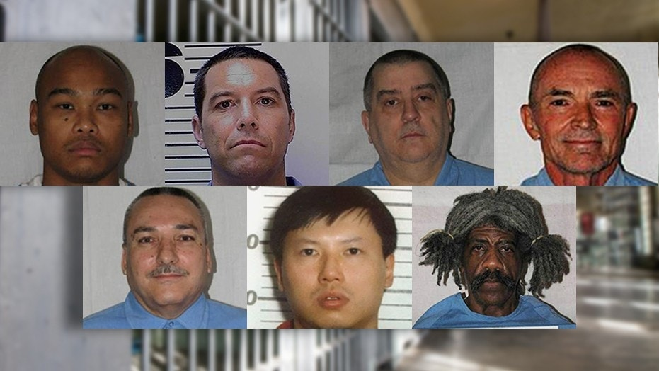 Some of California's most notorious death row inmates. Top row, left to right: Run P. Chhoun; Scott Peterson; Richard Farley; Randy Kraft. Bottom row, left to right: Ramon Salcido; Charles Ng; Marcus Wesson.