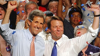 ** ADVANCE FOR THURSDAY, JULY 22, 2004 AND THEREAFTER **  Democratic presidential candidate Sen. John Kerry, D-Mass., left, and his running mate, Sen. John Edwards D-NC., wave to the crowd during a campaign speech in St. Petersburg, Fla. in this July 7, 2004 file photo.   As Kerry's running mate, Edwards has the opportunity to spread his can-do message on behalf of the Democratic ticket. At the same time, he must counter criticism that as a first-term senator he lacks the seasoning and foreign policy credentials for such a position.  (AP Photo/Chris O'Meara, File)