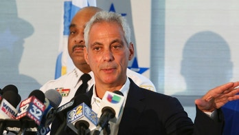 Chicago Mayor Rahm Emanuel speaks at a news conference accompanied by Police Superintendent Eddie Johnson, Monday, Aug. 6, 2018, in Chicago. Between 3 p.m. Friday, Aug. 3 and 6 a.m. Monday morning local time, police say at least 11 people were killed and about 70 were wounded in Chicago. Emanuel said one lesson from the wave of weekend violence is that people who live in neighborhoods where the shootings occurred have to be willing to name potential suspects. (AP Photo/Teresa Crawford)