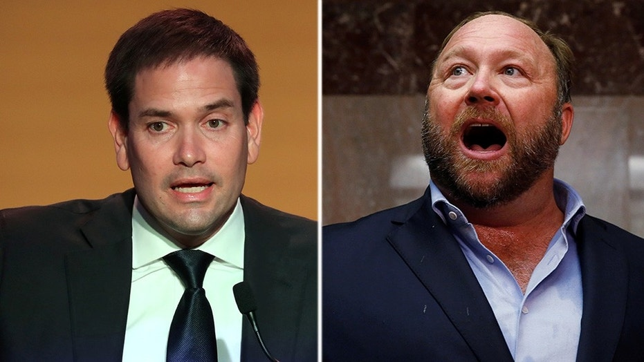 Alex Jones heckled Marco Rubio right outside Twitter and Facebook's Senate hearing