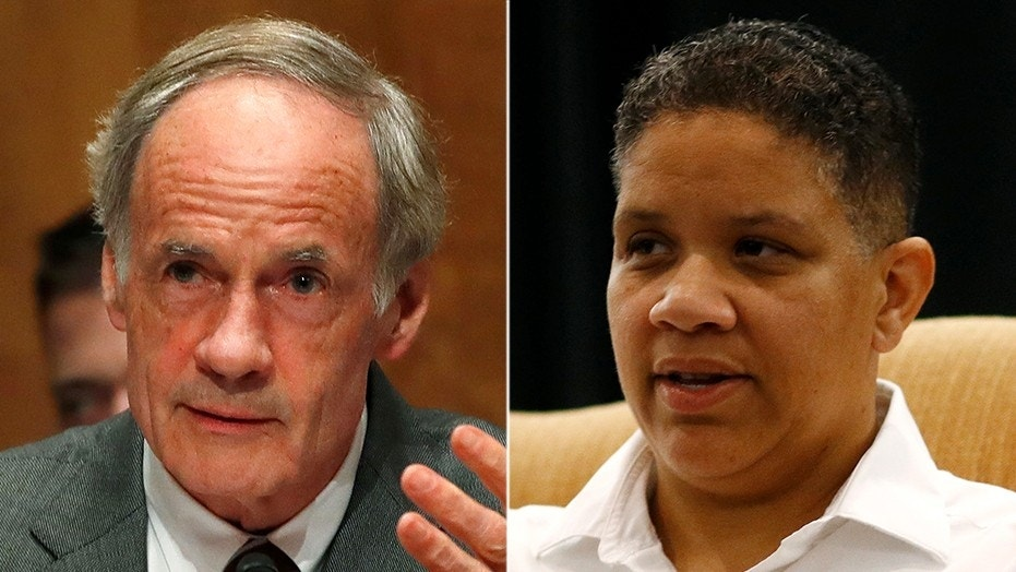 Kerri Evelyn Harris, right, is challenging Sen. Tom Carper in a primary Thursday.