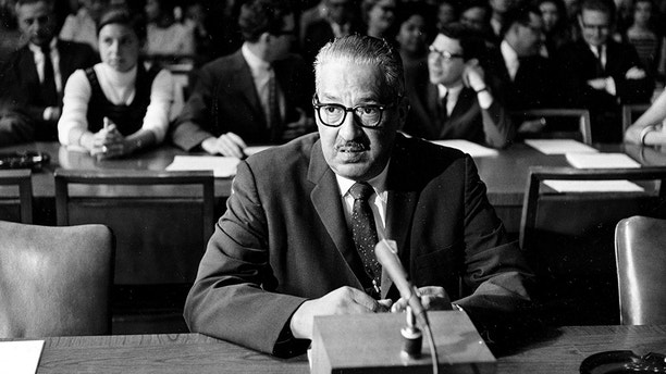 Solicitor General Thurgood Marshall, nominated by President Lyndon B. Johnson to the U.S. Supreme Court, sits at the witness table before testifying on his fitness for the post before the Senate Judiciary Committee, in Washington, July 18, 1967. (AP Photo)