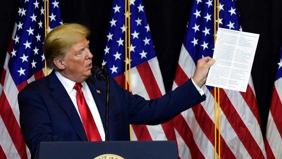 President Trump speaks during a fundraiser in Sioux Falls, S.D., Sept. 7, 2018.