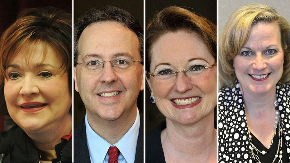 This combination of photos shows West Virginia state Supreme Court justices, from left, Margaret Workman, Allen Loughry, Robin Davis and Beth Walker who will face historic trials  in the West Virginia Senate starting next month.