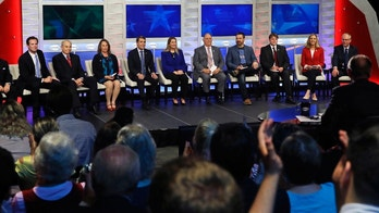 FILE - In this Wednesday, Sept. 5, 2018, file photo, Democratic hopefuls are introduced during a televised debate for New Hampshire's 1st Congressional District at the Institute of Politics at St. Anselm College in Manchester, N.H. From left are William Martin, Deaglan McEachren, Mark MacKenzie, Mindi Messmer, Chris Pappas, Naomi Andrews, Lincoln Soldati, Paul Cardinal, Terence O'Rourke, Maura Sullivan and Levi Sanders. Eleven Democrats and six Republicans are competing in the Tuesday, Sept. 11 primary for a chance to replace Democratic U.S. Rep. Carol Shea-Porter, who is not seeking re-election. (AP Photo/Charles Krupa, Pool, File)
