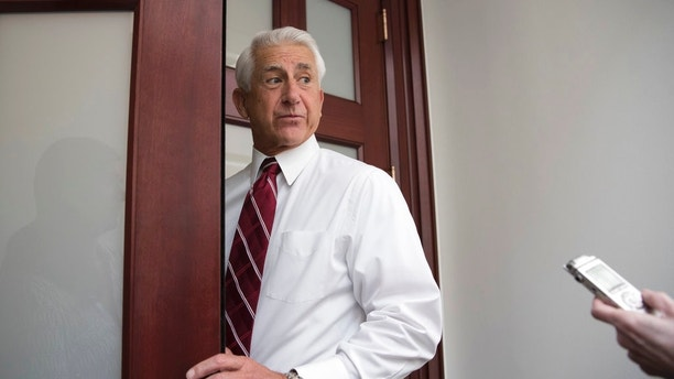 FILE - In this July 28, 2017, file photo, Rep. Dave Reichert, R-Wash. , arrives for a House Republican Conference meeting on Capitol Hill in Washington.