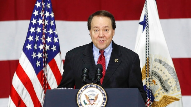 FILE - In this Saturday, April 1, 2017, file photo, Rep. Pat Tiberi, R-Ohio, speaks at DynaLab, Inc., in Reynoldsburg, Ohio. Tiberi said Thursday, Oct. 19, that he will resign from his seat to take the helm of a business policy group back home.