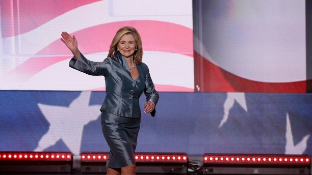 Representative Marsha Blackburn (R-TN) takes the stage to speak during the final day of the Republican National Convention in Cleveland, Ohio, U.S. July 21, 2016. REUTERS/Mike Segar - HT1EC7M02EE7Q