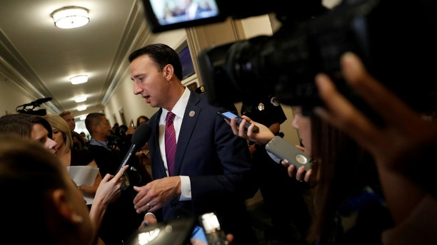 Rep. Ryan Costello (R-PA) speaks with the media following a meeting of the Republican conference ahead of the release of their tax reform plan on Capitol Hill in Washington, U.S., November 2, 2017. REUTERS/Aaron P. Bernstein - RC1CF32D90D0