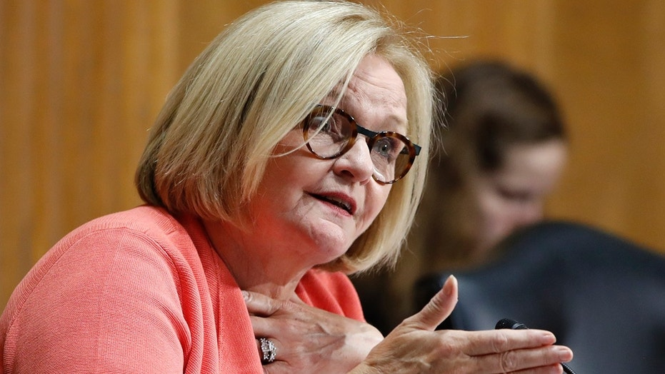 FILE - In this June 20, 2018, file photo, Sen. Claire McCaskill, D-Mo., asks a question during a Senate Finance Committee hearing on Capitol Hill in Washington. McCaskill is holding off on taking a public stance on President Donald Trump's U.S. Supreme Court nominee.