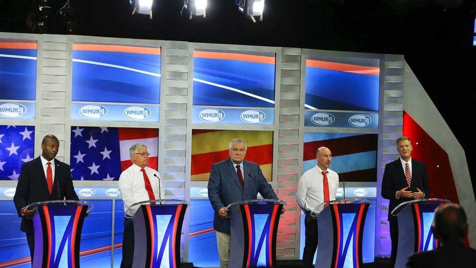 In this Sept. 6, 2018 photo, Republican hopefuls for New Hampshire's 1st Congressional District participate in a debate at St. Anselm College in Manchester, N.H. Eleven Democrats and six Republicans are competing in the Sept. 11 primary for a chance to replace Democratic U.S. Rep. Carol Shea-Porter, who is not seeking re-election.