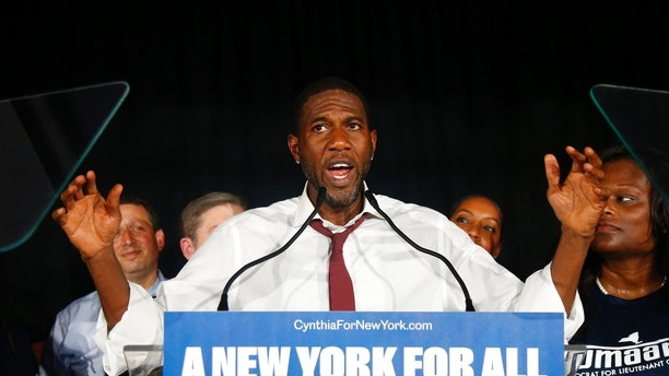 Candidate for Lt. Governor Jumaane Williams delivers his concession speech at the Working Families Party primary night party, Thursday, Sept. 13, 2018, in New York. In the Democratic primary for lieutenant governor, incumbent and Cuomo running mate Kathy Hochul defeated challenger Williams, a New York City councilman who had promised if elected to serve as a check on Cuomo. (AP Photo/Jason DeCrow)