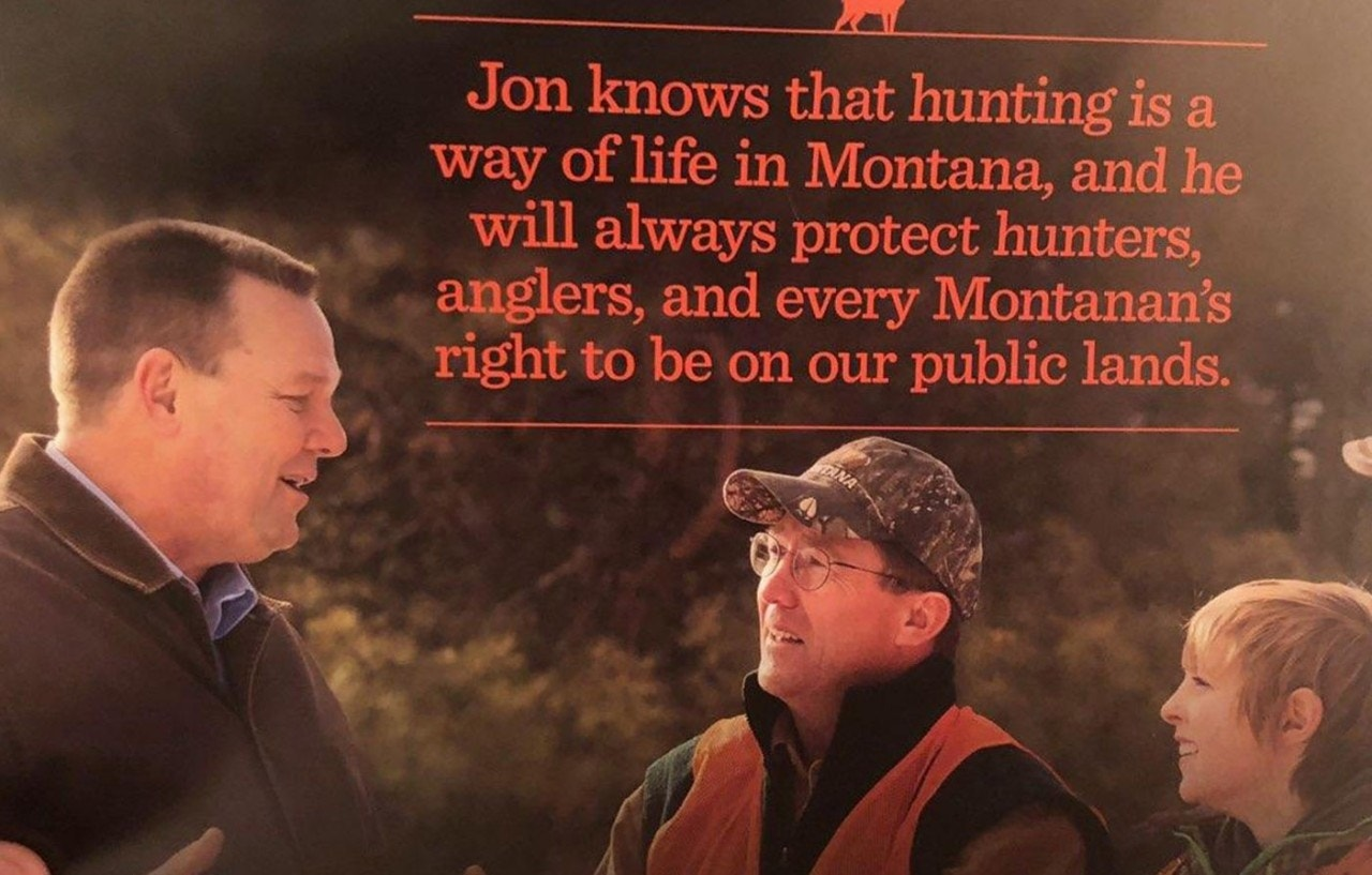 Montana Sen. Jon Tester has campaigned as a hunting enthusiast, sending out mailers to voters that show him in hunting gear with his gun in hand.