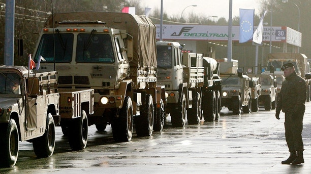 In this file photo taken Jan. 12, 2017, welcomed in Zagan, Poland, first U.S. troops are arriving at the Zagan base in western Poland as part of deterrence force of some 1,000 troops to be based here and reassure Poland that is worried about Russia's activity.(AP Photo/Czarek Sokolowski)