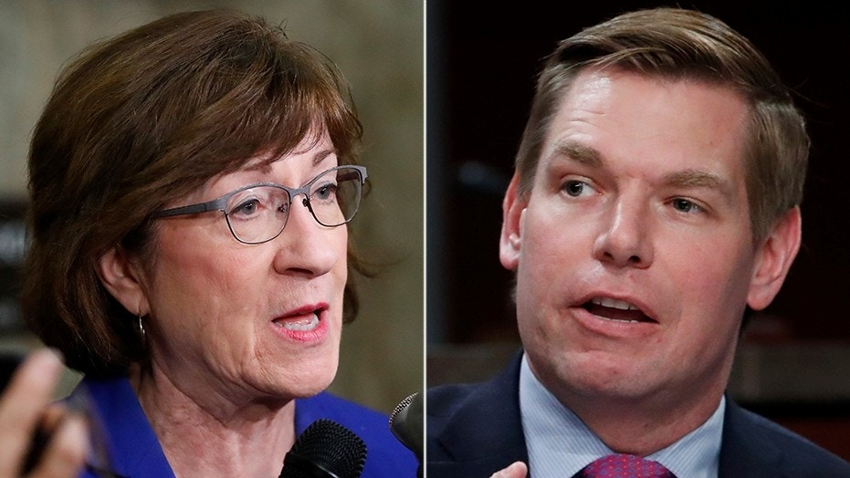Rep. Eric Swalwell, D-Calif., has apologized for and deleted a tweet that seemed to make light of threats Sen. Susan Collins, R-Maine, says she and her staff have received during Brett Kavanaugh's Supreme Court confirmation hearing.