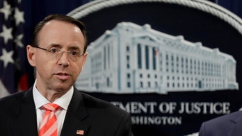 U.S. Deputy Attorney General Rod Rosenstein speaks at a news conference with other law enforcement officials at the Justice Department to announce nine Iranians charged with conducting massive cyber theft campaign, in Washington, U.S., March 23, 2018. REUTERS/Yuri Gripas - RC1D3A36FD20