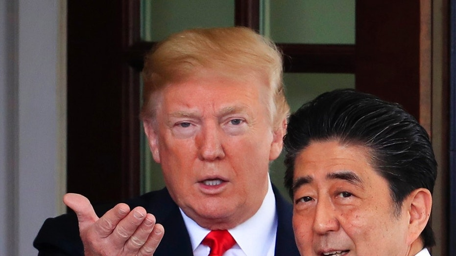 President Trump welcomes Japanese Prime Minister Shinzo Abe to the White House in Washington, June 7, 2018.