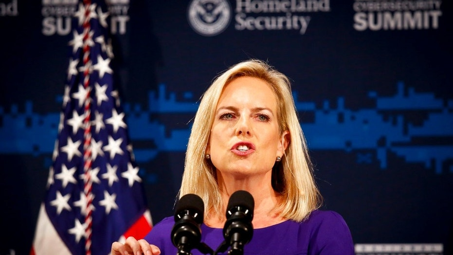 Secretary of Homeland Security Kirstjen Nielsen address the National Cybersecurity Summit in New York City, July 31, 2018.