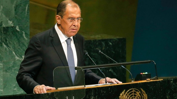Russia's Foreign Minister Sergey Lavrov addresses the 73rd session of the United Nations General Assembly, at U.N. headquarters, Friday, Sept. 28, 2018. (AP Photo/Seth Wenig)