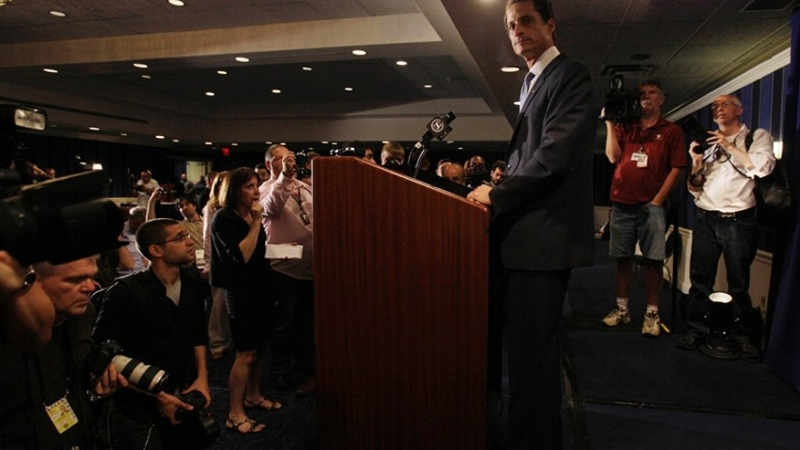 "U.S. Congressman Anthony Weiner, D-NY, addresses a news conference in New York,  Monday, June 6, 2011. After days of denials, a choked-up New York Democratic Rep. Anthony Weiner confessed Monday that he tweeted a bulging-underpants photo of himself to a young woman and admitted to ""inappropriate"" exchanges with six women before and after getting married. (AP Photo/Richard Drew)"