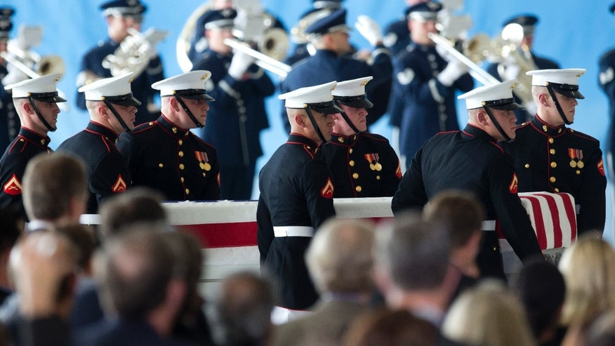 Sept. 14, 2012: A carry teams moves a flag draped transfer case of the remains of one of the Americans killed this week in Benghazi, Libya, from a transport plane during the Transfer of Remains Ceremony,  at Andrews Air Force Base, Md.