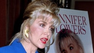 """Gennifer Flowers announces the publication of her autobiographical book """"Passion & Betrayal,"""" which details her alleged affair with President Clinton, at a press conference April 24. Flowers will begin a 19-city tour to promote the book April 26 - RTXG33K"""