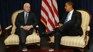 U.S. President-elect Barack Obama and Senator John McCain (R-AZ) during a meeting in Obama's transition office in Chicago, November 17, 2008.  REUTERS/John Gress (UNITED STATES) - RTXAOYB
