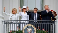 President Donald Trump, first lady Melania Trump, French President Emmanuel Macron and his wife Brigitte Macron stand on the Truman Balcony during a State Arrival Ceremony on the South Lawn of the White House in Washington, Tuesday, April 24, 2018. (AP Photo/Pablo Martinez Monsivais)