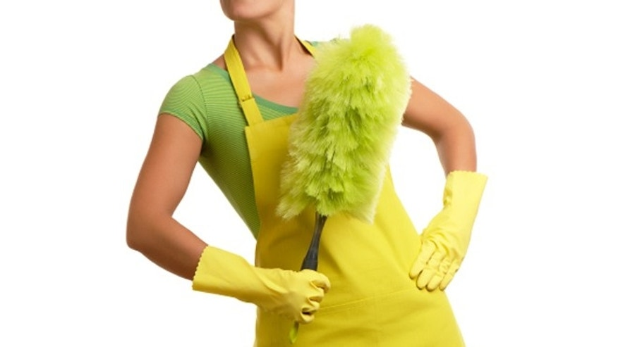 Cleaning Woman Maid with Duster on White
