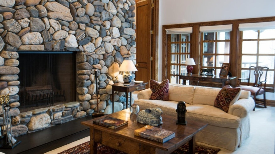 An enormous stone fireplace.