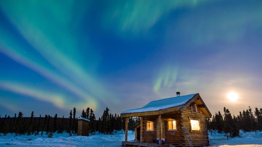Alaska cabin, northern lights