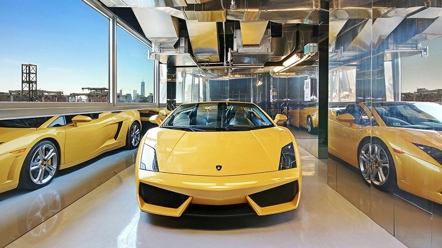 Known as the sky garage, the car elevator can take a car from the street to a private garage attached to the residence.