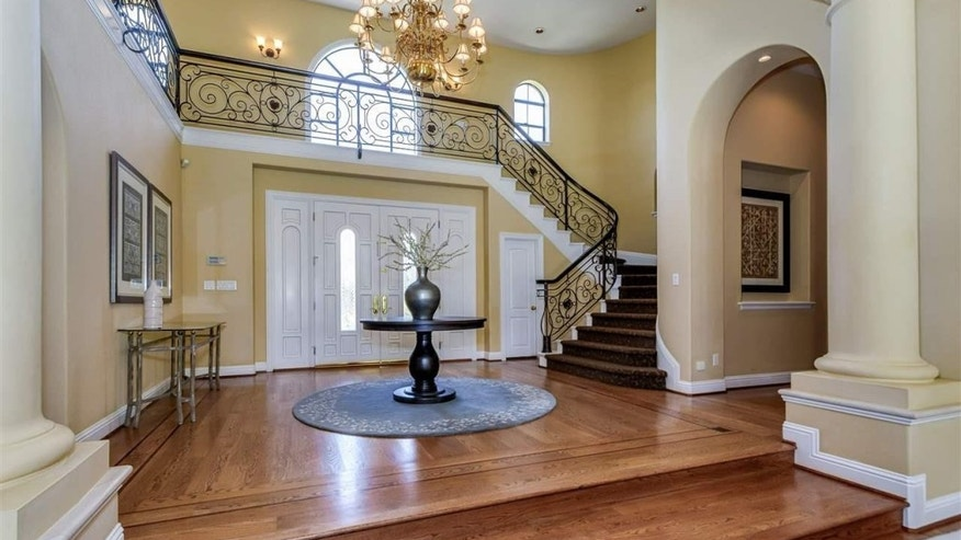 A two-story foyer.