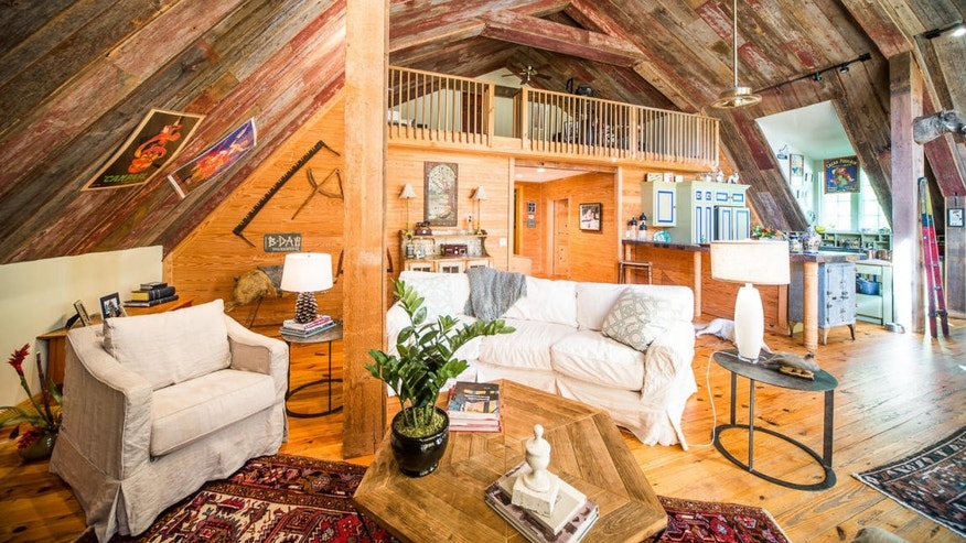 The rehabbed wood adds rustic atmosphere.