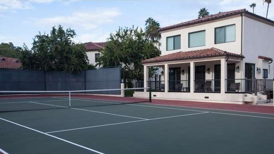 Tennis court and guest house