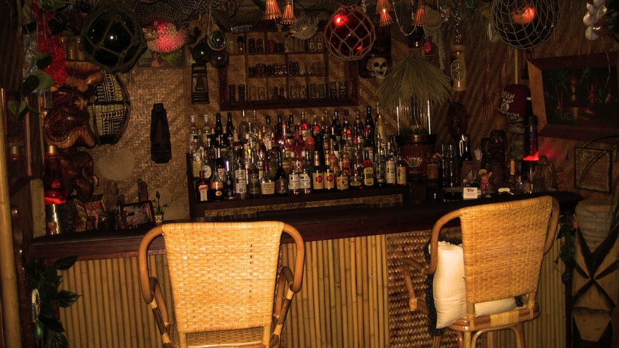 Martin Cate's home tiki bar, the Novato Grotto, located in Novato, CA.