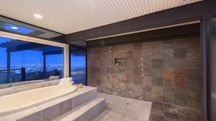 Huge shower and step-up soaking tub