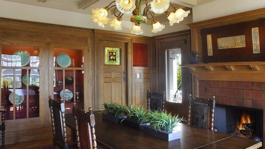 Dining Room with Wood Paneling