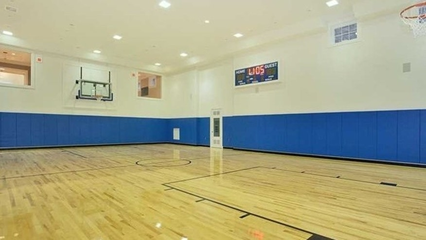 Stone mansion basketball court