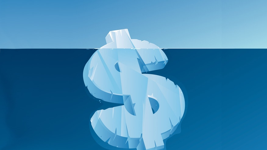 Hidden cost of refinancing. Dollar sign iceberg
