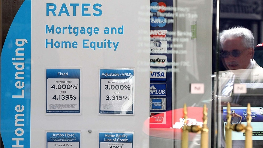 Mortgage rates in bank window