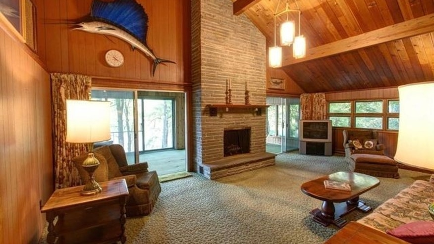 The lake home has a rustic 1970s vibe.