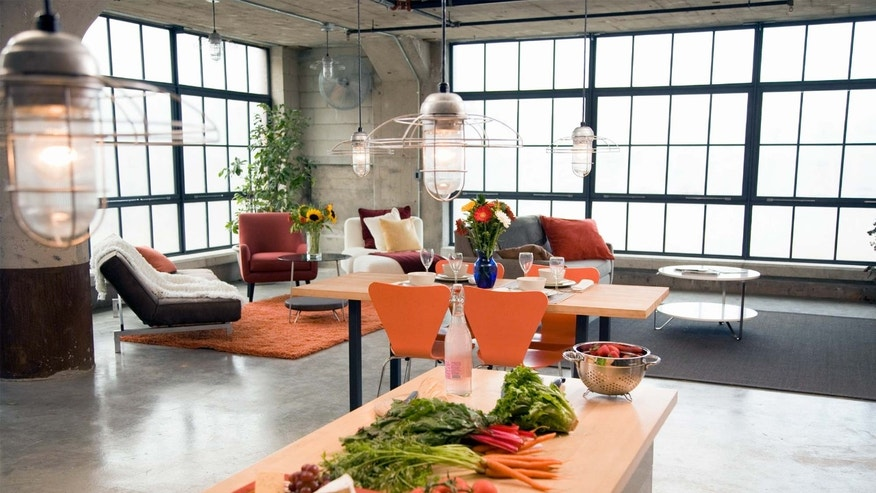loft apartment kitchen and dining room