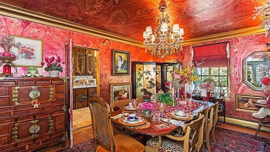 A marbled dining room.
